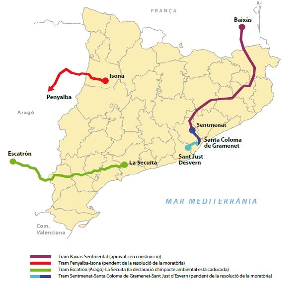 Projecció de les futures línies de MAT a Catalunya, segons l'esborrany de planificació energètica 2012-2020 del Ministeri d'Industria.