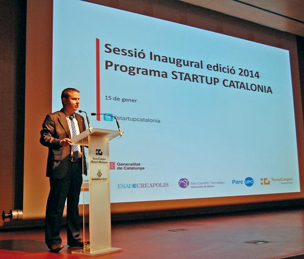 El consell delegat d'ACCIÓ, Joan Tarradellas, durant la presentació de l'edició 2014 de Start-Up Catalonia