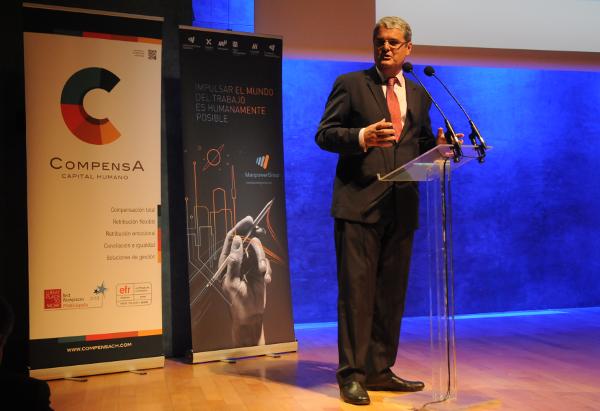 El president d'Aedipe Catalunya, Ricard Alfaro, durant la seva intervenció en la 5a edició del Foro Barcelona.