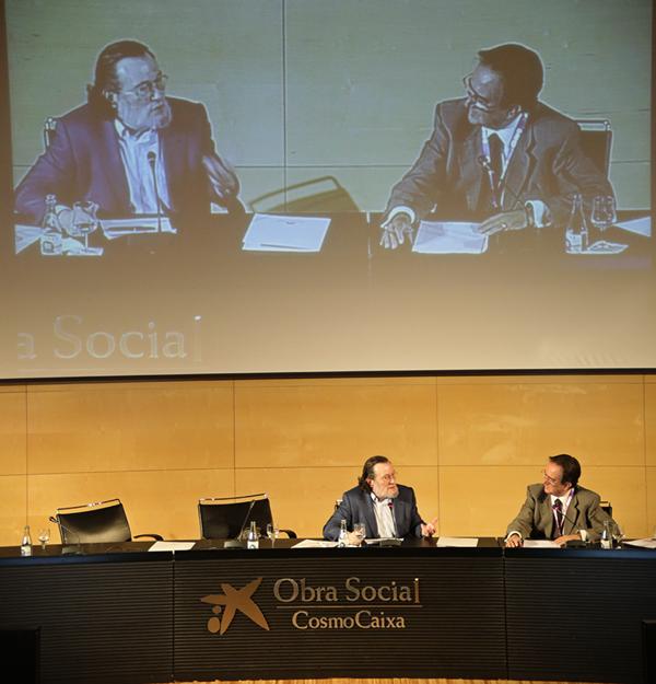 El catedràtic d'economia Santiago Niño-Becerra, i el president del Consell Assessor del COETTC, Joan Giró.